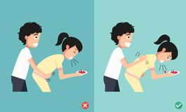 Wrong and right ways first aid,man giving choking woman. Illustration,vector Stock Images