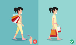 Wrong and right ways for hand holding shopping bags Stock Photos