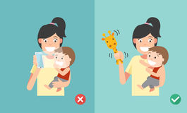 Wrong and right ways playing with kids. Smartphone may affect so. Cial and emotional development. vector illustration Royalty Free Stock Images