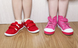 Wrong and right wearing shoes stock image