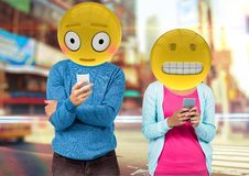 wrong sentences in whatsApp. Emoji face. royalty free illustration