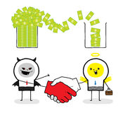 Wrong trading with devil. A business makes a wrong deal with devil Royalty Free Stock Image
