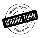 Wrong Turn rubber stamp Stock Photo