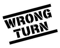 Wrong turn stamp on white stock illustration