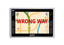 Wrong way. GPS navigator with information of wrong way on the screen Royalty Free Stock Photography