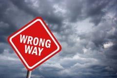 Wrong way. Illustration of wrong way road sign vector illustration