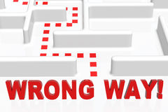 Wrong Way. Sign and a maze stock illustration