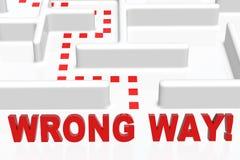 Wrong Way. Sign and a maze Stock Photos