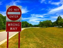 The Wrong Way. A Wrong Way Royalty Free Stock Photos