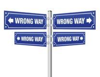 Wrong Way Guidepost Stock Photos