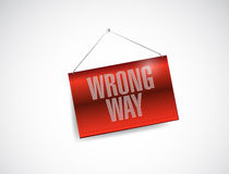 Wrong way hanging sign illustration Stock Image