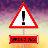 Wrong Way Indicates No Entrance And Alternative Royalty Free Stock Images