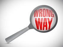 Wrong way magnify glass sign Stock Image