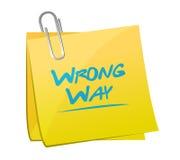 Wrong way memo post sign illustration Royalty Free Stock Images