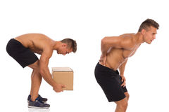 Wrong way of picking up weight. Backache. Royalty Free Stock Photos