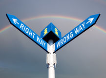 Wrong Way and Right Way Stock Images