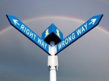Wrong Way and Right Way stock images