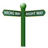 Wrong way, right way street sign Royalty Free Stock Image