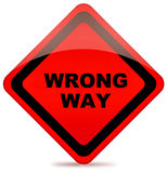 Wrong way road sign Royalty Free Stock Photo