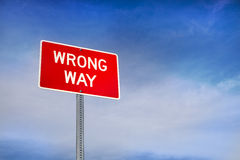 Wrong Way Road Sign Stock Image
