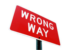Wrong way road sign on ackground Royalty Free Stock Image