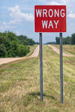 Wrong Way Road Sign Royalty Free Stock Photography
