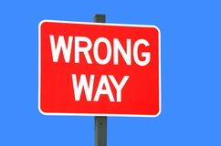 Wrong Way Sgin Stock Images