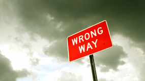 Wrong way sign Stock Photos