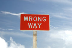 Wrong Way sign Stock Image