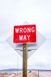 Wrong way sign at a highway Royalty Free Stock Photos