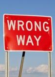 Wrong Way Sign. A red wrong way sign stock photo