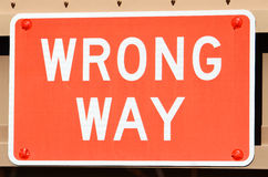 Wrong Way Sign Stock Photo