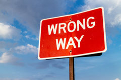 Wrong way sign Royalty Free Stock Photos