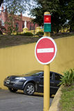 Wrong way signal (no-entry) royalty free stock images