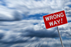 Wrong way warning Royalty Free Stock Photography