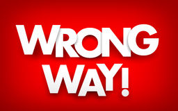 Wrong way. White text on red background stock illustration