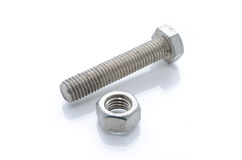 Wrong wrench for hex nut on white background Stock Images
