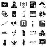 Wrongdoing icons set, simple style. Wrongdoing icons set. Simple set of 25 wrongdoing vector icons for web isolated on white background Stock Images