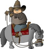 Wrongway Cowboy. This illustration depicts a cowboy riding a horse in the wrong direction Stock Photography