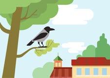 Wroniej gałąź projekta płaskiej kreskówki dzikich zwierząt wektorowi ptaki ilustracji