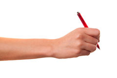 She wrote in pen. Royalty Free Stock Photo