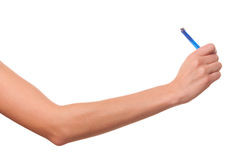She wrote in pen. Royalty Free Stock Image