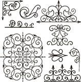 Wrough iron ornaments Stock Photos