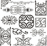 Wrough iron ornaments. A set of exquisite and very clean wrought iron ornamental designs, vector series. EPS file available Royalty Free Stock Photography