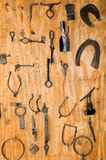 Wrought iron. Different examples of pieces of old wrought-iron work stock images