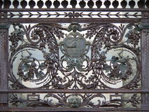 Wrought iron balcony. Wrought iron detailed work on a balcony in the tuscan village of Monte San Savino, Arezzo (Italy Stock Photography