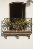 Wrought iron balcony with flowers Royalty Free Stock Images