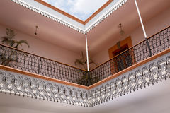 Wrought iron balcony railing details Royalty Free Stock Photo
