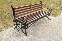 Wrought iron bench. In the park Royalty Free Stock Photography