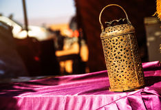 Wrought iron berber lamp with traditional nomad tents on backgro Royalty Free Stock Images